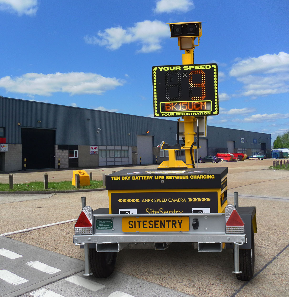 Mobile speed camera for industrial estate
